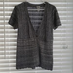 Chico's Black & Gray Shortsleeve Sweater